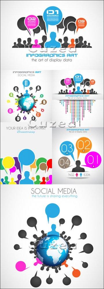 Инфографики на социальную тему, 46 / Social media infographics,46 - vector  ...