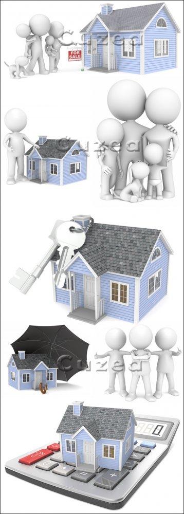 3д люди и дома на продажу / House for sale and 3d people - stock photo