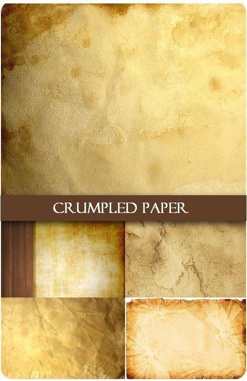 Пять текстур мятой бумаги