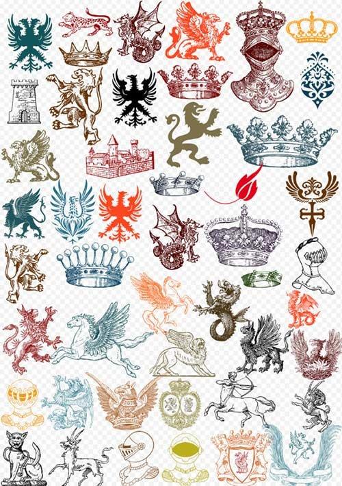 Клипарт PSD - Геральдические животные и короны для фотошоп на прозрачном фо ...