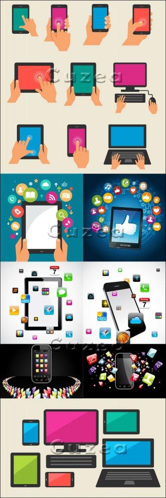 Смартфоны и современные технологии в векторе / Smartphones and tehnology in ...