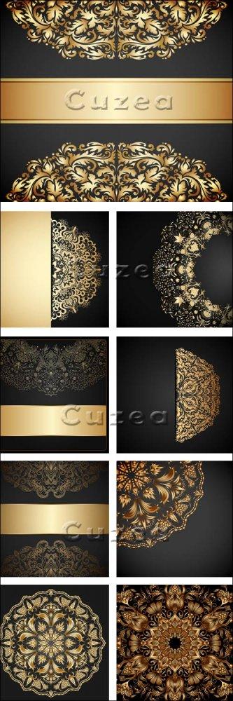 Тёмные винтажные векторные фоны с золотыми элементами / Black background wi ...