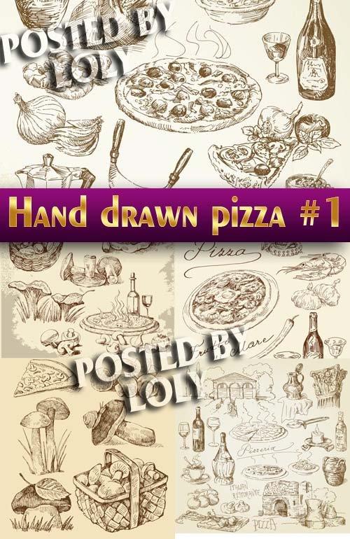Рисованная пицца #1 - Векторный клипарт