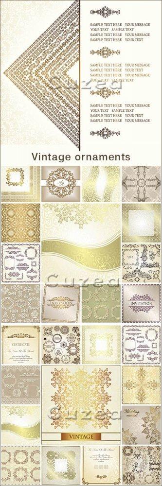 Коллекция винтажных фонов с золотыми элементами в векторе / Vintage invitat ...