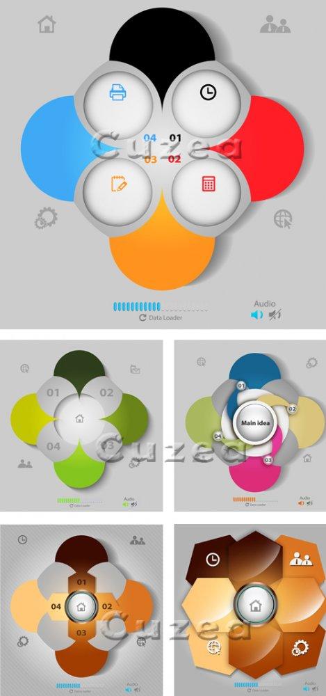 Социальные инфографики, 49 / Social infographics,49 - vector stock