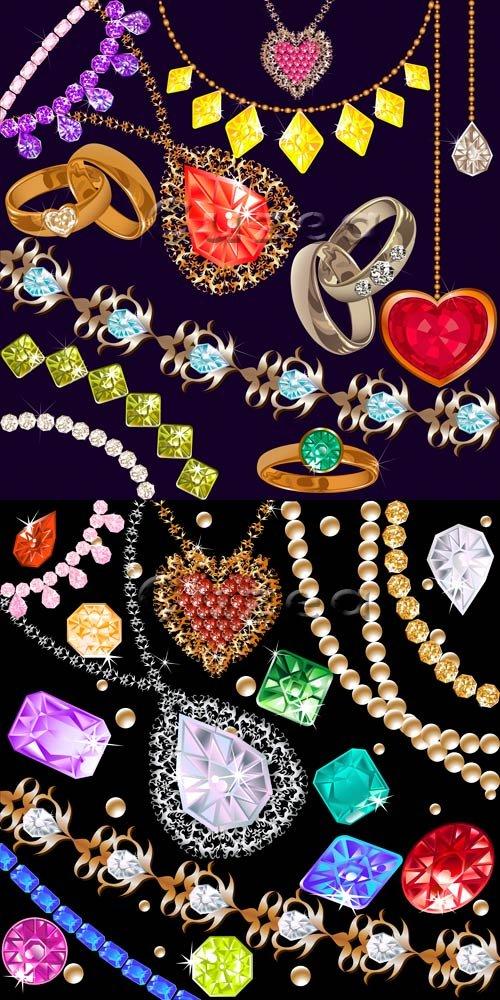 Векторные цветные драгоценные камни и кольца / Vector diamond of differents ...