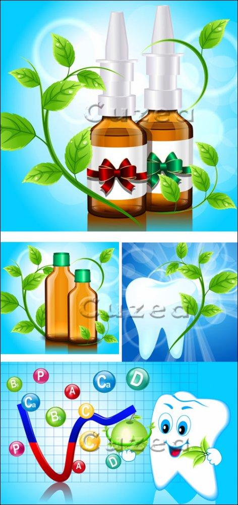 Векторный клипарт на тему стоматологии и лекарств