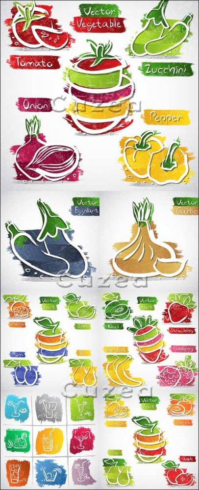 Овощи и фрукты в векторе, часть 5 / Fruit and vegetables in vector, part 5