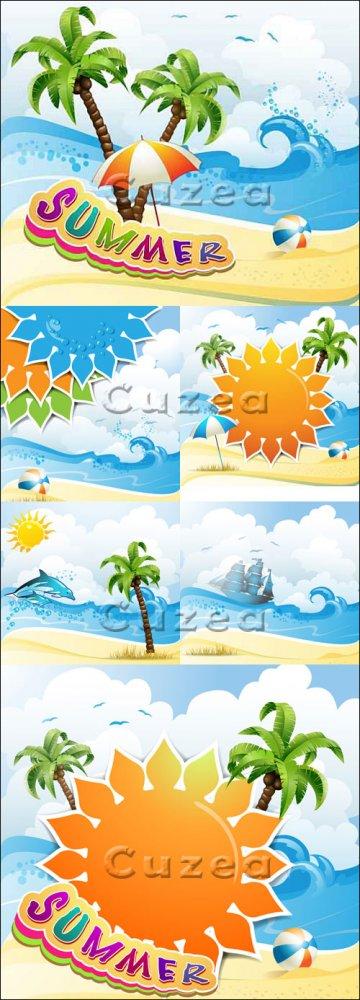 Летний отдых на морском побережье  - вектор / Summer rest on the sea - vect ...