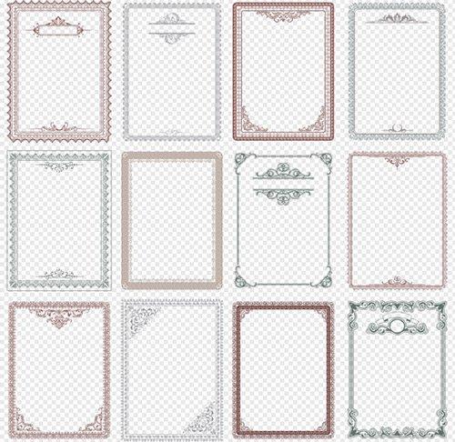 Рамки вырезы с узорами уголками на прозрачном фоне для творческих работ