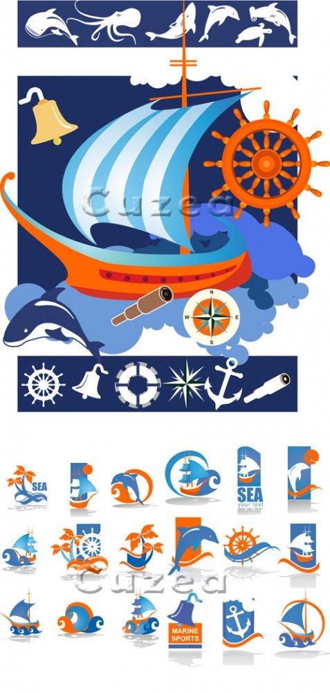 Корабль и иконки путешествий в векторе / Ship and summer travel  icons - ve ...