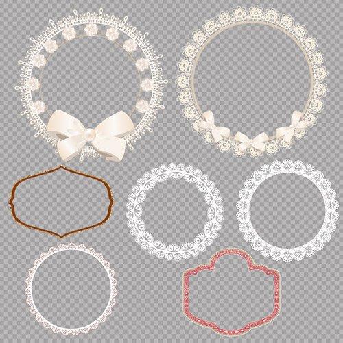 Рамки вырезы из кружевов с узорами и бантами на прозрачном фоне