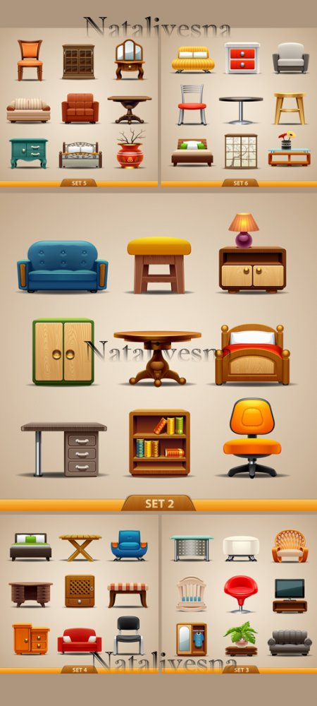 Мебель в Векторе / Furniture in Vector