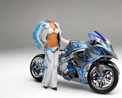 Шаблон для фотошопа - Девушка у спортивного мотоцикла