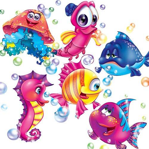 Клипарт детский '' Симпатичные рыбки ''