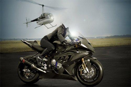 PSD шаблон - Девушка на мотоцикле