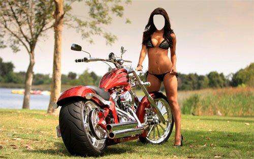 Женский шаблон - Шикарная девушка возле мотобайка