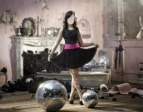 Шаблон женский - Креативная фотосессия брюнетка в красивом платье