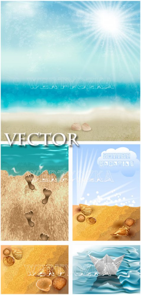 Лето и море / Summer and sea - vector clipart