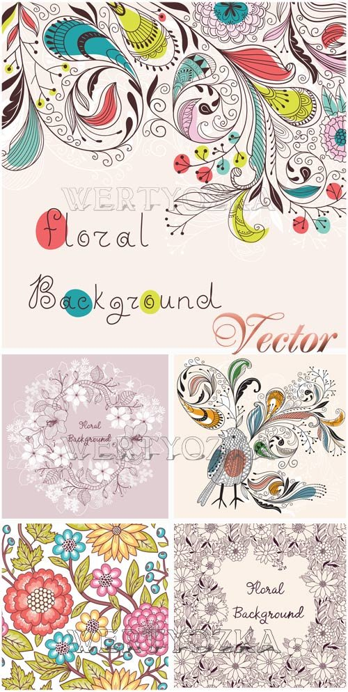 Цветы и орнаменты в векторе / Background with flowers and ornaments - vector clipart