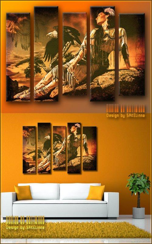Модульная картина - полиптих с имитацией мазков - Индейская девушка