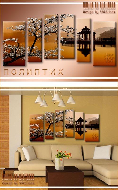 Модульная картина - полиптих с имитацией мазков - Цветущая сакура над водой