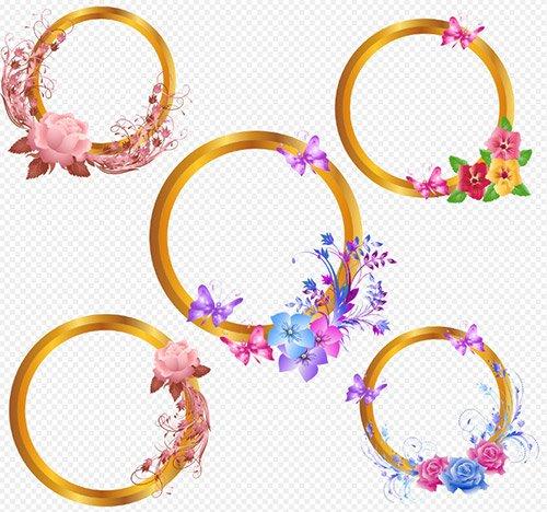 Рамки вырезы PSD для творческих работ с цветами и бабочками на прозрачном ф ...