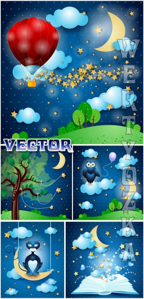 Сказочные фоны / Fairy backgrounds - vector clipart