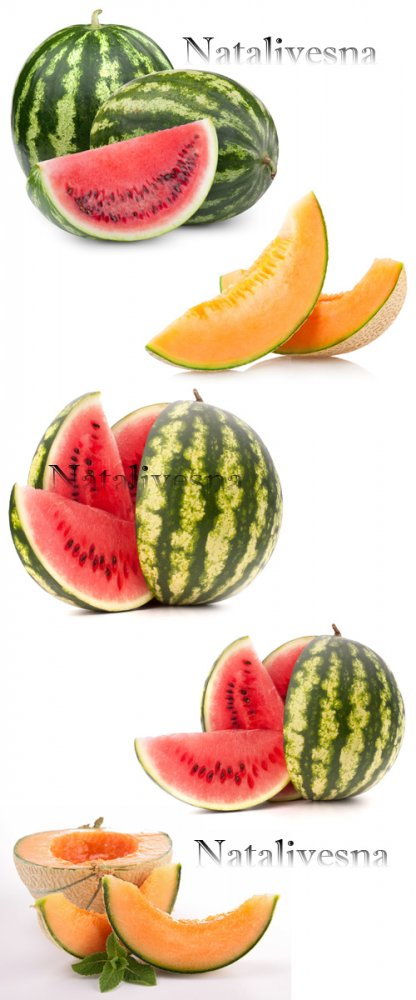 Ароматная дыня и арбуз на белом фоне / Melon and water-melon - Stock photo