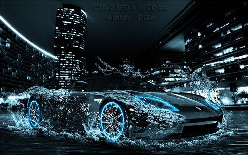 PSD исходник Water car