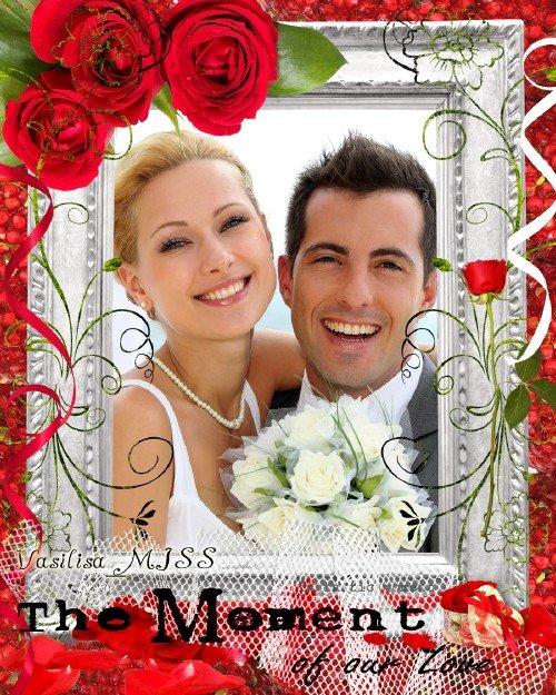 Романтическая фоторамка - Момент нашей любви с алыми розами, цветочными зав ...