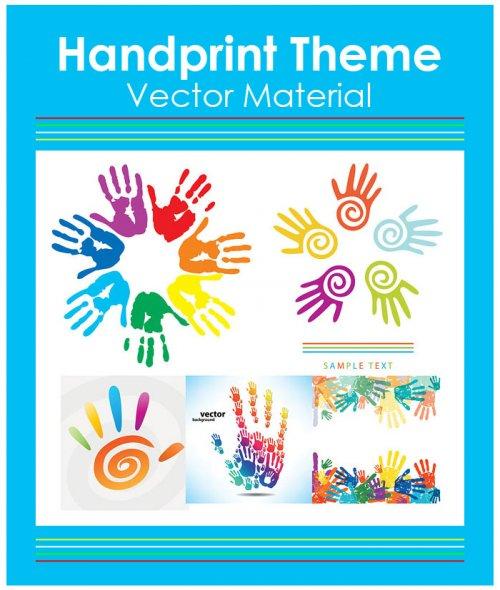 Handprint Theme Vector Material | Отпечатки ладоней в векторе