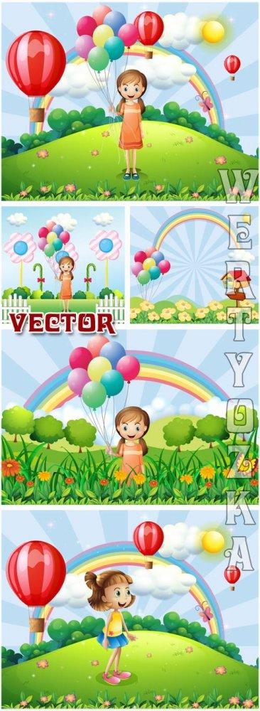 Праздничные детские фоны с девочкой / Celebratory children's backgrounds w ...