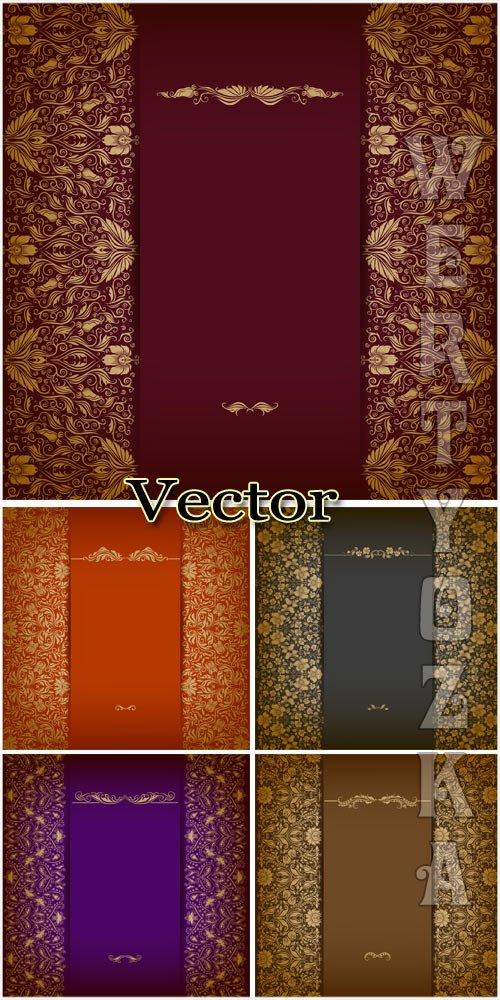 Векторные фоны с золотым декором / Vector Background with golden decor