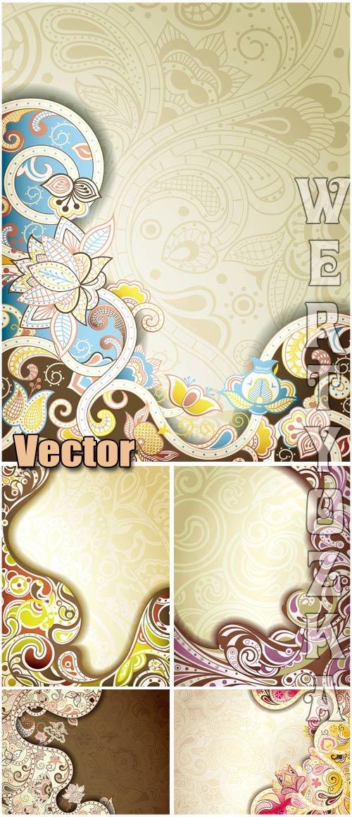 Фоны с разноцветными орнаментами, цветы / Backgrounds with colorful ornamen ...