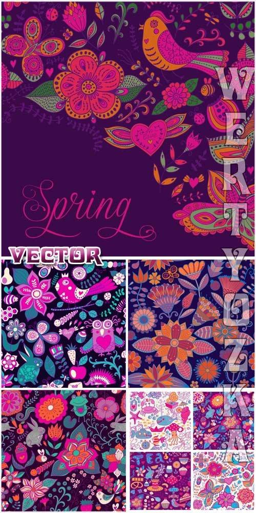 Векторные фоны с разноцветными цветочками и птицами / Vector background wit ...