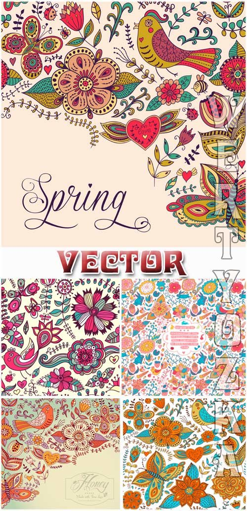 Векторные фоны с разноцветными цветочными орнаментами / Vector background w ...