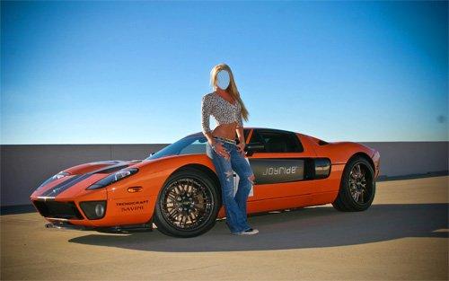 Женский шаблон - Стройная блондинка возле спортивного авто