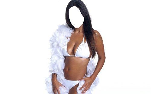 Шаблон для фото - Девушка в белоснежном купальнике и в перьях