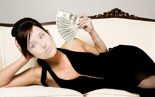 Женский шаблон - Девушка в шикарном платье с веером из денег