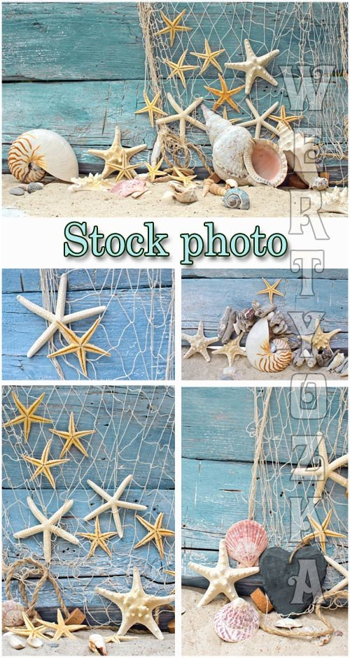 Морские фоны / Marine backgrounds, fishing nets and seashells - Raster clipart