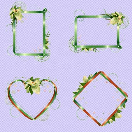 Клипарт - Рамки вырезы из узоров и ленточек с блёстками на прозрачном фоне