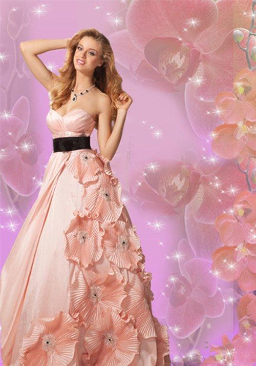 Шаблон  женский  ''Орхидей раскошный наряд''