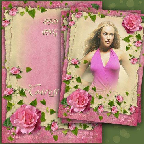 Женская рамка для фото с нежными розовыми розами - Очарование винтажных фот ...