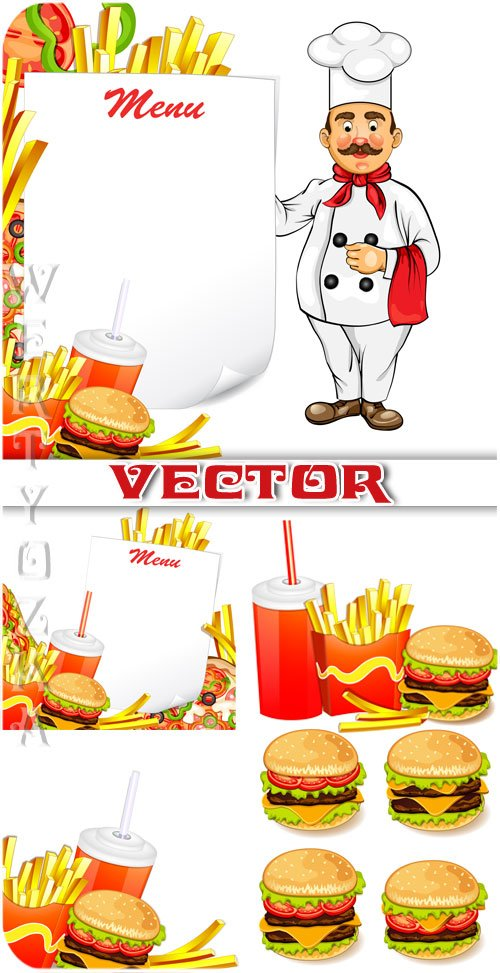Фаст-фуд, чизбургер, картофель фри / Fast food, cheeseburger, french fries  ...