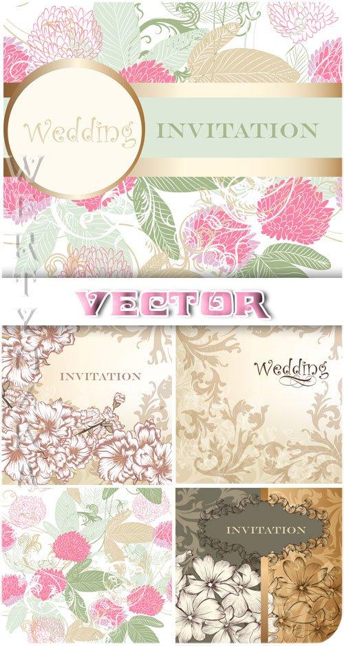 Нежные свадебные фоны с цветами и узорами / Gentle wedding background with  ...