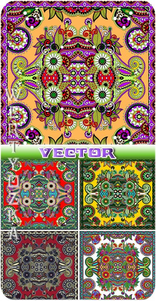 Векторные фоны с узорами / Vector background with beautiful colorful design ...