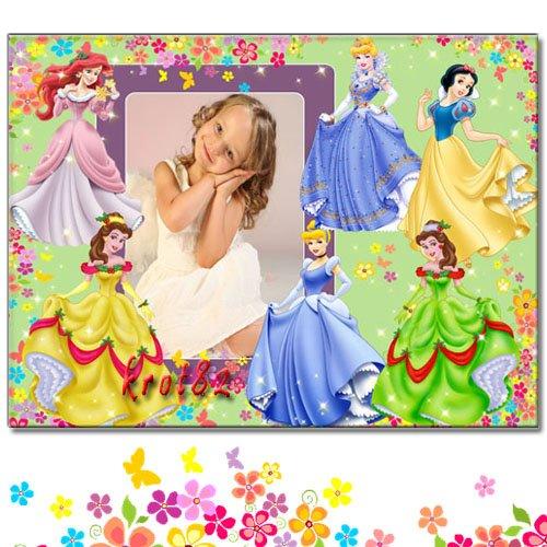 Фоторамка для девочки – В окружении диснеевских принцесс, Белоснежки и Ариэ ...