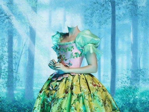 Шаблон для девушек - Белоснежка в ярком платье в лесу
