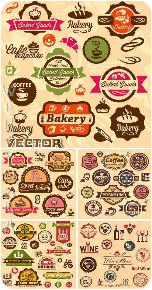 Продуктовые ретро этикетки / Retro food labels - vector